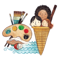 Person Swimming, Artist Easel, Ice Cream cone