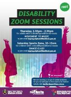No Limits Sports Zone - FREE ONLINE Movement to Music Thursday 1:30pm to 2:30pm Whilst we still can't welcome our No Limits participants back onsite, we do have  great weekly zoom options  Grab your dancing gear and join in the online movement to music,for adults with an addition need and/or a disability.    For joining instructions email hayley.elphee@bedford.gov.uk