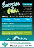 Join in with the #Roundtheworldchallenge with three half an hour exercise to music sessions with a qualified instructor:  Monday 11:45am to 12:15pm Tuesday and Friday 10am to 10:30am   To join visit https://bedfordsportlive.crd.co/ for the zoom details