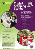 Flyer promoting Triple P Stepping Stones on Wednesday mornings  in June and July 2021