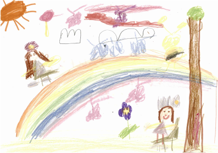 Grandma's garden, drawn by Aurora, age 7