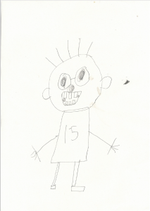 Callum drew a picture of himself as a runner with a super grin on his face