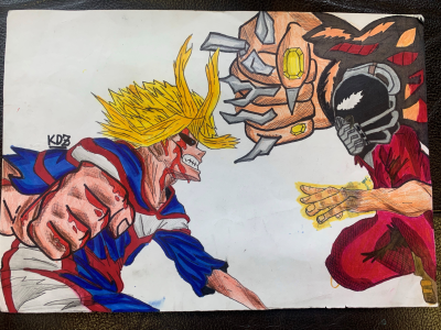 Kidus drew a detailed picture of a fistfight between two manga characters