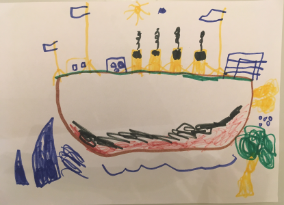Nico drew a picture of a colourful ship setting sail