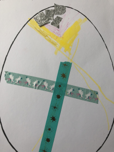 Yusef beautifully decorated a picture of an easter egg with collage materials