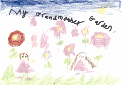 Aurora drew a brilliant picture of her grandmother's garden which was full of flowers and butterflies