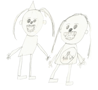 My sister and my mum, drawn by Callum, age 8