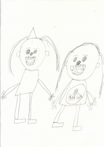 Callum drew a lovely pencil picture of his mum and sister