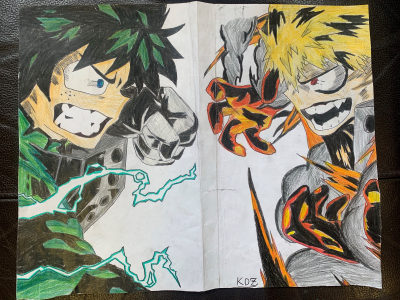 Kidus drew a picture of an orange, fire manga character and a green, electrical manga character preparing to fight