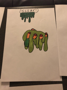 Lena and Abdel drew a vivid picture of someone holding a handful of dripping, green slime
