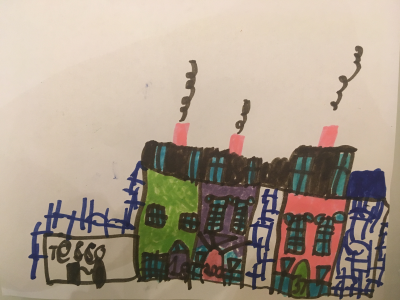 Nico drew a picture of the colourful houses in his neighbourhood in London