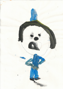Callum painted a fantastic portrait of himself as a policeman