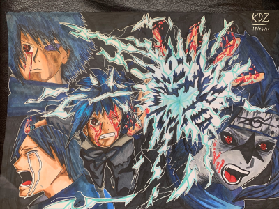 Kidus drew an incredible manga-style poster of a electric blue character shifting through different actions and emotions