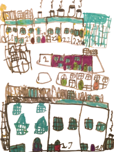 A London street, drawn by Nico, age 6