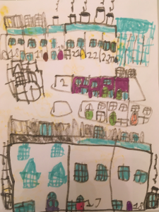Nico drew a wonderful picture of the houses in his local neighbourhood