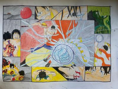 Kidus drew a creative storyboard of manga chartacters fighting