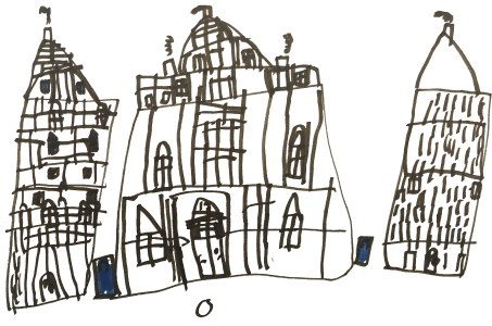 London buildings, drawn by Nico, age 6