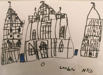 Nico drew a very detailed black and white picture of iconic buildings in London