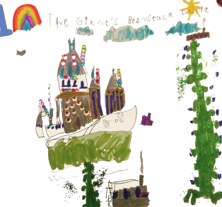 The castle at the top of the beanstalk, drawn by Nico, age 6