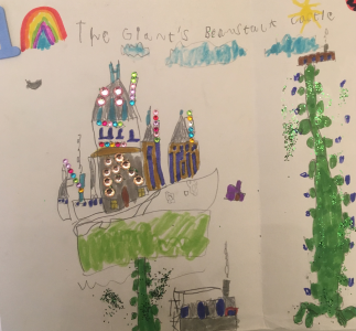 Nico drew a sparkly castle for the giant who lives at the top of the magical beanstalk