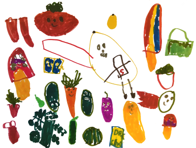 Health foods, drawn by Nico, age 6