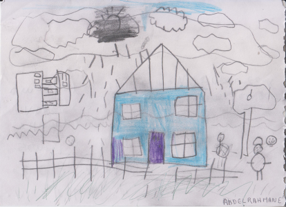 Abdelrahmane has drawn a lovely picture of his blue house and surrounding neighbourhood