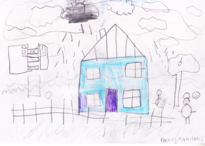 Abdelrahmane's drawing of a blue house