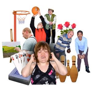 A picture of a people taking part in lots of different activities like playing sports, listening to music, gardening, painting and playing cards