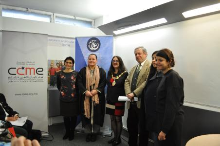 A photograph of the Women's Centre trustees and the mayor