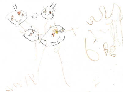 A picture of my family, drawn by Ali, age 5