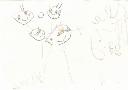 Ali drew a beautiful portrait of his family