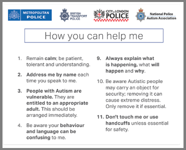 A picture of the advice given on the autism card