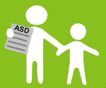 A cartoon picture of a parent and child walking together with information about their diagnosis
