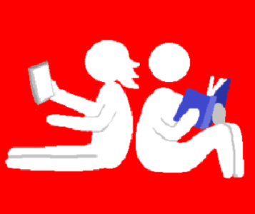 A cartoon picture of young people relaxing with a phone and a book