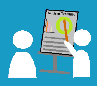 A cartoon picture of an instructor delivering training about autism