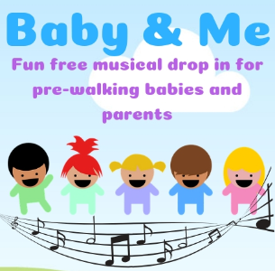 Baby & Me: A picture of babies jumping over a skipping rope made of musical notes.