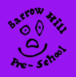 Logo for the Barrow Hill Pre-School. It shows a smiling face drawn in a child-like hand.