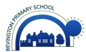 Bevington Primary school logo showing the silhouette of a school surrounded by a blue rainbow and sun.