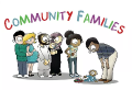 Community Families Logo. Couples with young children stand happily together underneath the words
