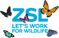 ZSL London Zoo logo. Slogan reads