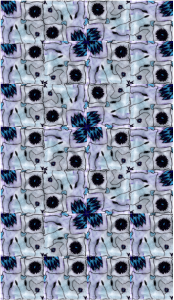 Cezar has drawn a beautiful abstract tile design in shades of purple and blue