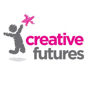 Creative Futures Logo. A person jumps happily to reach a star.