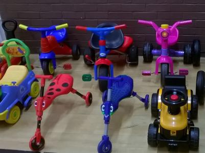Photo of the bikes, buggies and ridable cars
