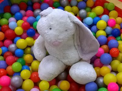 Club Kids rabbit in ball pit