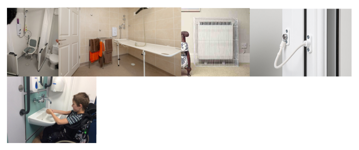 A series of photos showing possible adaptations to the home. The adaptations pictured include bathroom aids, changing benches, radiator guards, door locks, and wheelchair-friendly utilities.