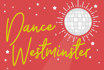 Dance Westminster logo. It shows a glittery disco ball.