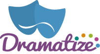 Dramatize logo. Two blue theatre masks are shown above the name
