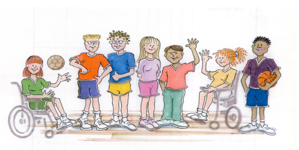 A picture of a group of children with different needs and disabilities playing sports.