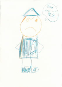 Edward drew a great picture of a policeman warning people not to mess with him
