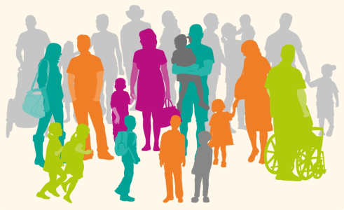 Image of Family Hub logo - silhouettes of a large group of different families and people in different colours